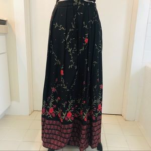 Napa Valley Black and Red Floral Maxi Skirt